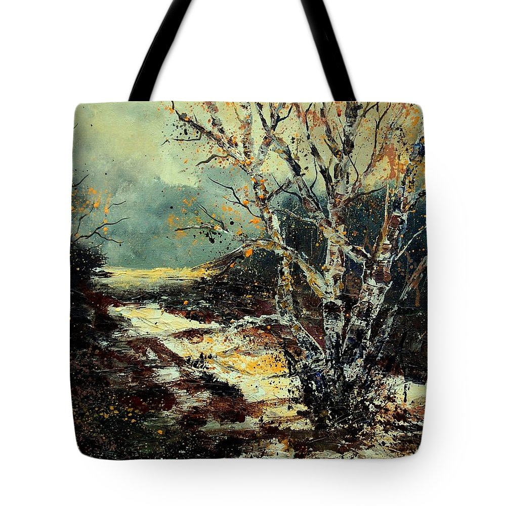 Tree Tote Bag featuring the painting Poplars 45 by Pol Ledent