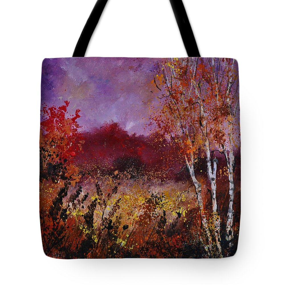 Landscape Tote Bag featuring the painting Poplars in autumn by Pol Ledent