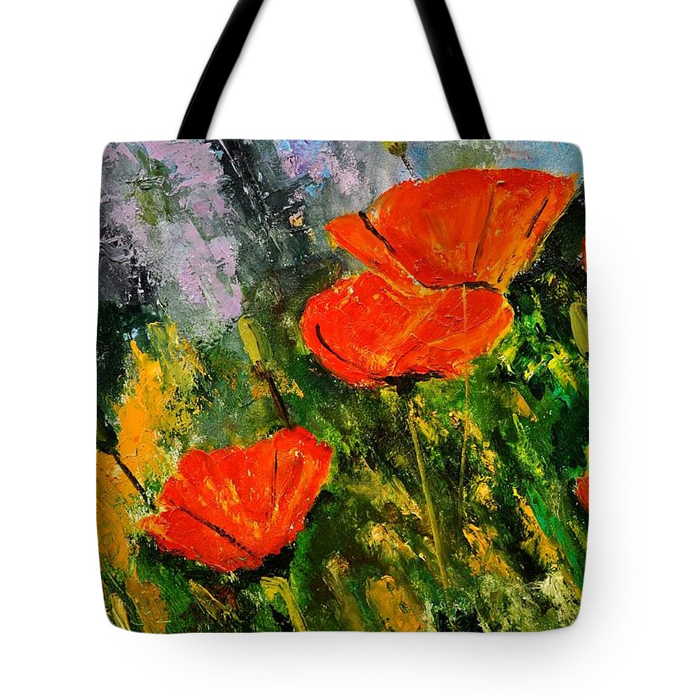 Flowers Tote Bag featuring the painting Poppies 107 by Pol Ledent
