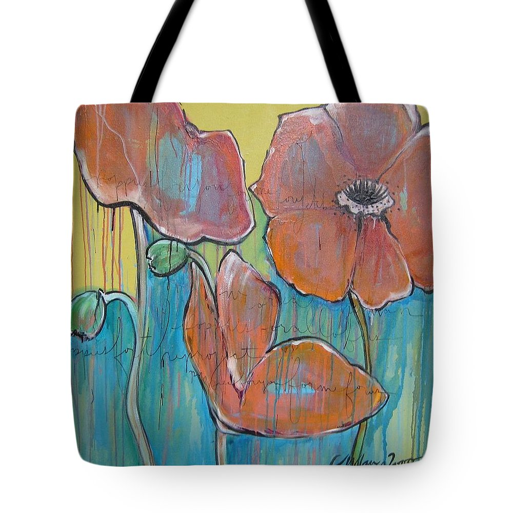 Pop Art Tote Bag featuring the painting Poppies 3 by Laurie Maves ART