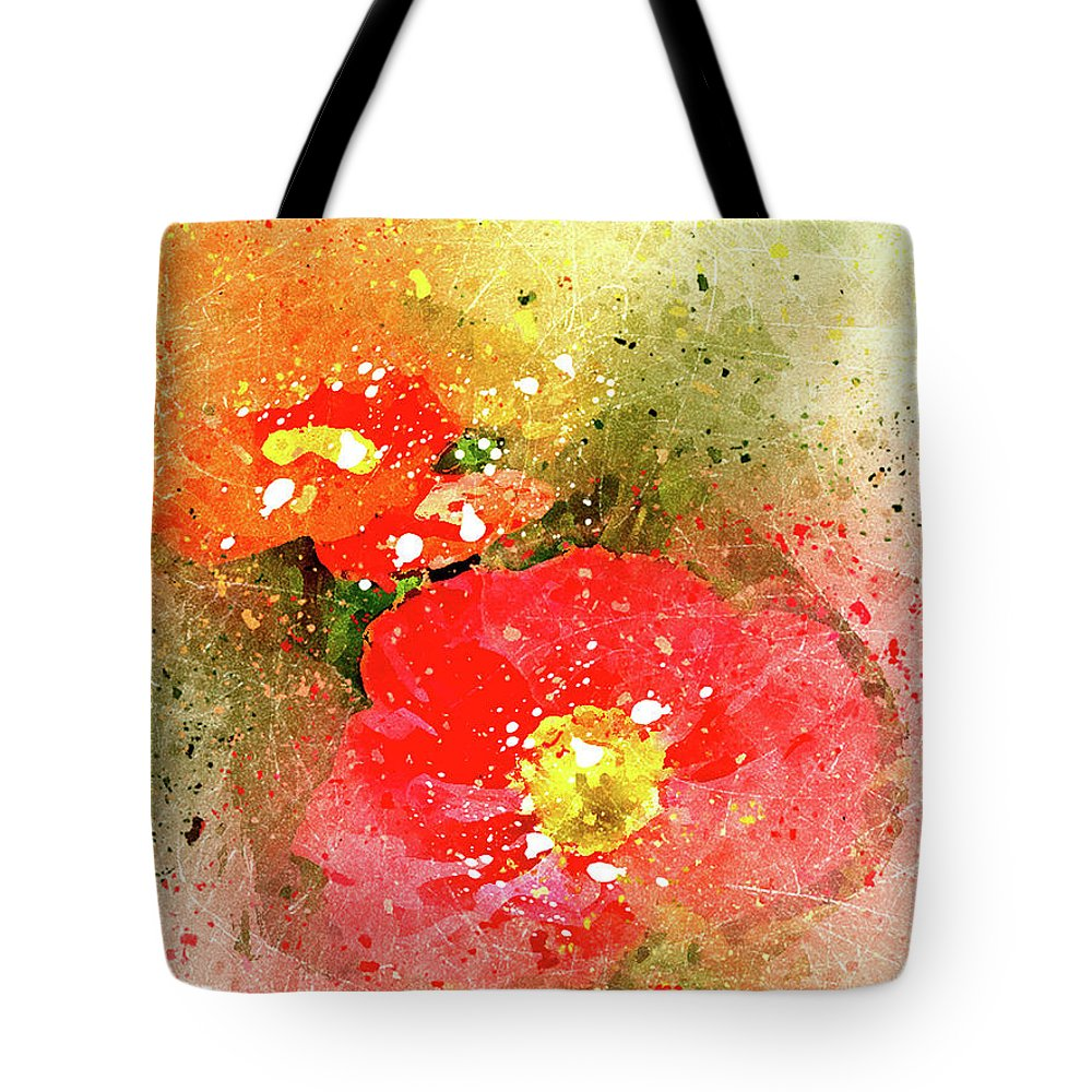 Poppies Peggy Cooper Photography Digital Art Watercolor Effect Photo Illustration Flowers Floral Plants Nature Impressionism Impressionist Prints Canvas Mugs Shower Curtains Tote Clutch Bag Towels Throw Pillows Phone Cases Beach Home Office Goods Decorating Interior Design Galleries Gifts Women Girls Dainty Delicate Designer Greeting Cards Tote Bag featuring the digital art Poppies 5 S by Peggy Cooper
