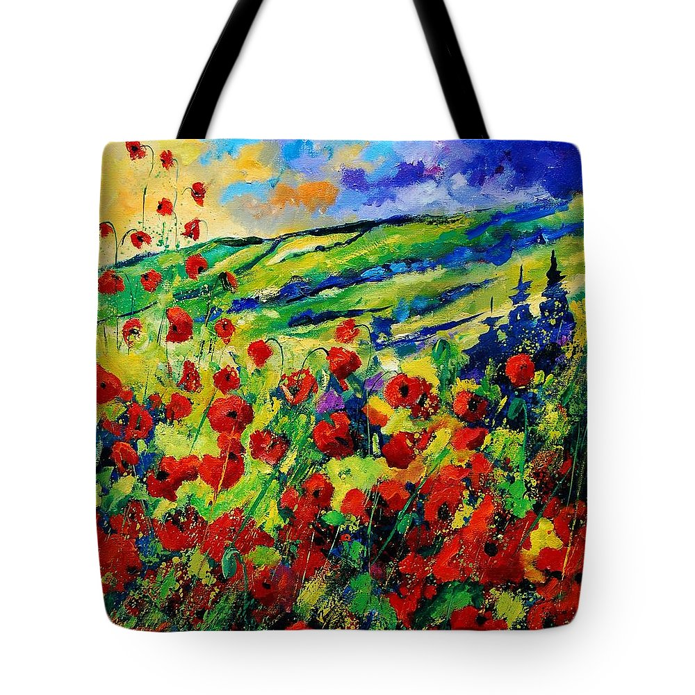 Flowers Tote Bag featuring the painting Poppies 78 by Pol Ledent