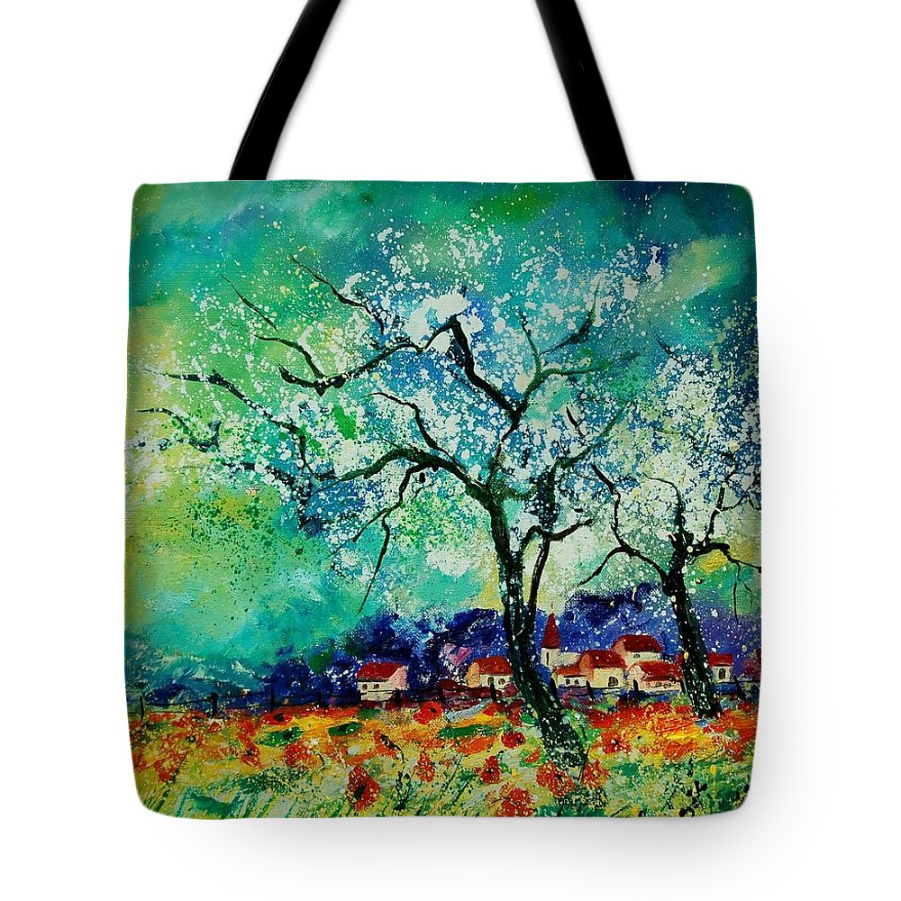Landscape Tote Bag featuring the painting Poppies and appletrees in blossom by Pol Ledent