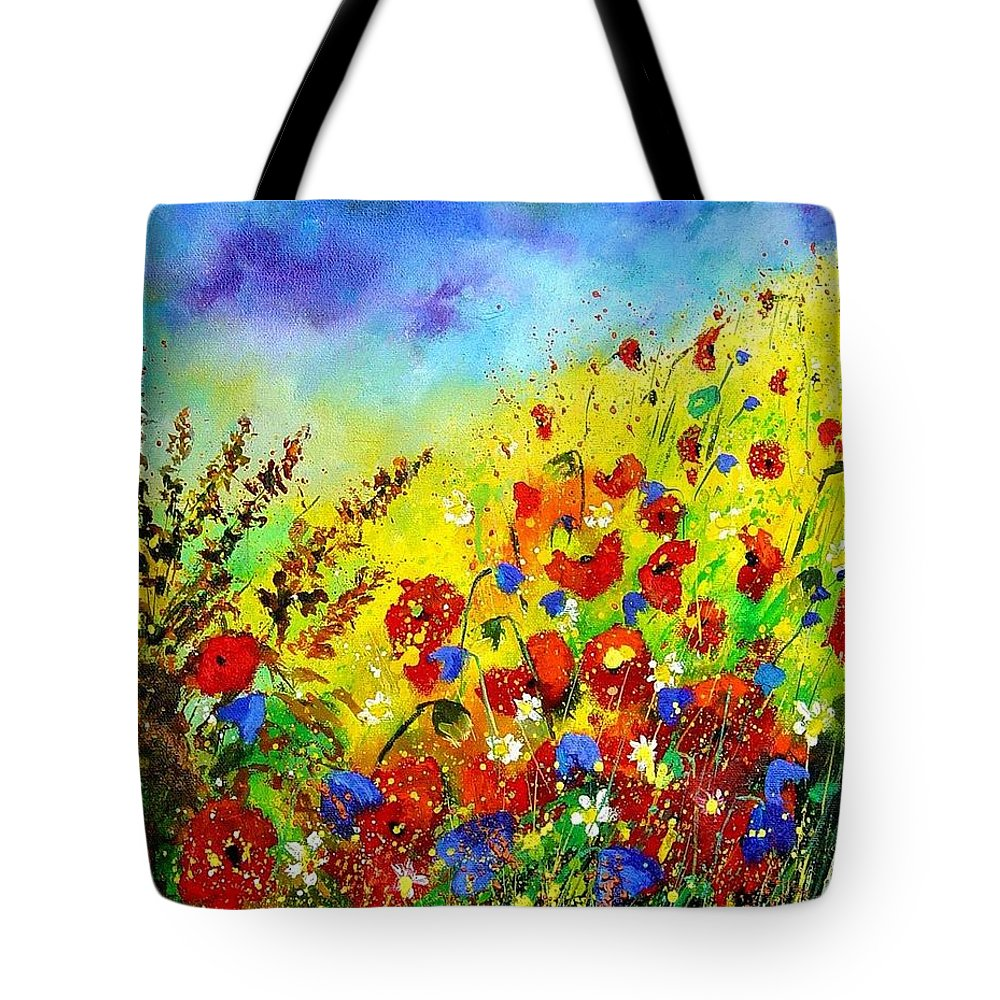 Poppies Tote Bag featuring the print Poppies And Blue Bells by Pol Ledent