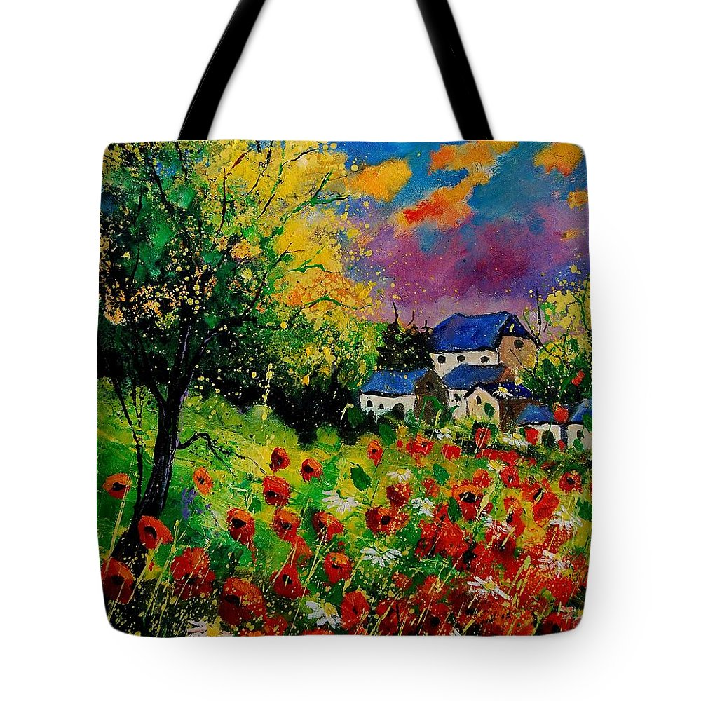 Landscape Tote Bag featuring the painting Poppies and daisies 560110 by Pol Ledent