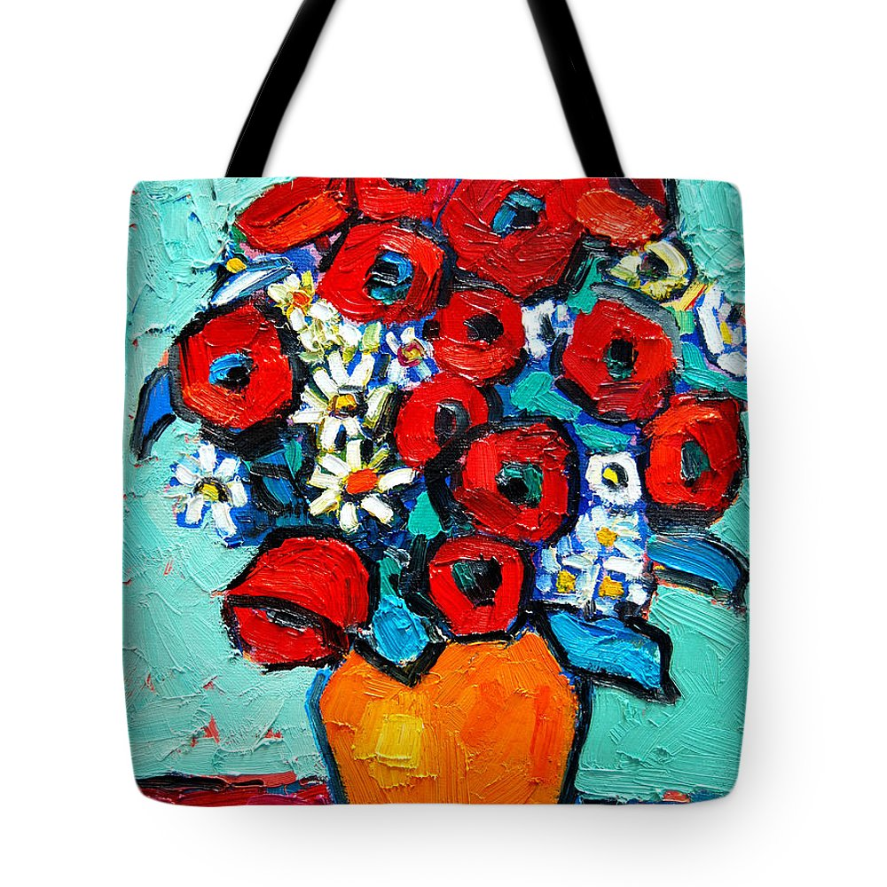 Floral Tote Bag featuring the painting Poppies And Daisies Bouquet by Ana Maria Edulescu