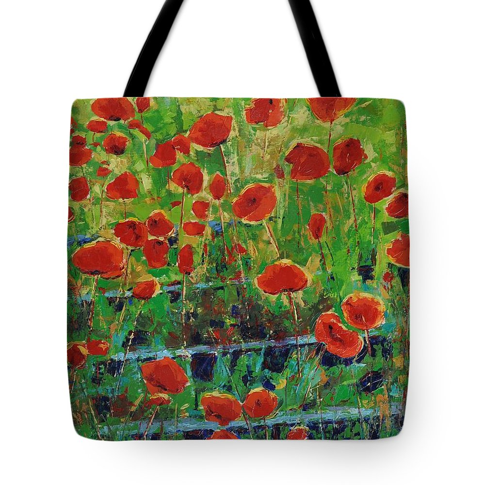 Poppies Tote Bag featuring the painting Poppies And Traverses 1 by Iliyan Bozhanov