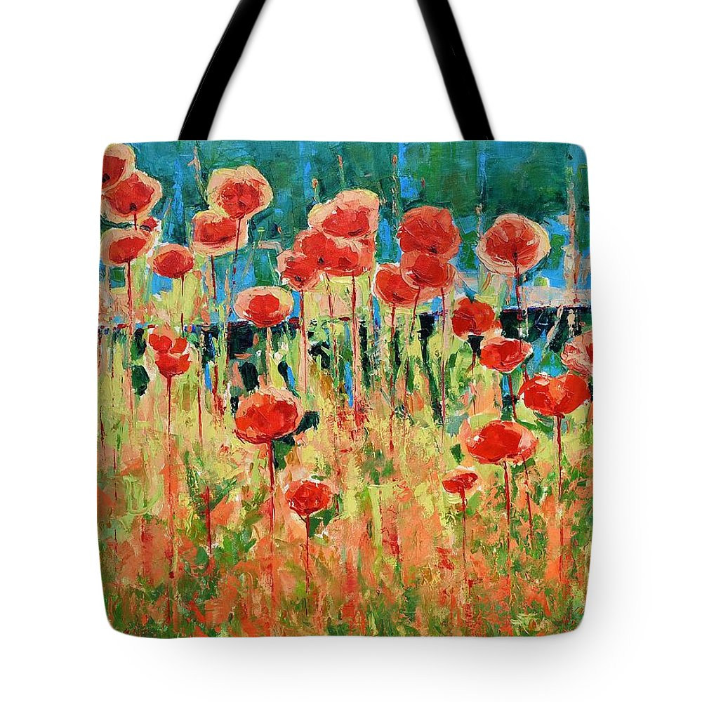 Poppies Tote Bag featuring the painting Poppies And Traverses 2 by Iliyan Bozhanov