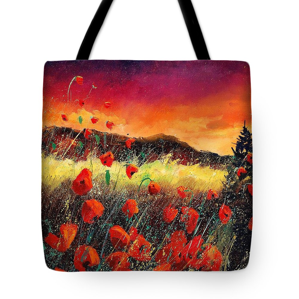 Poppies Tote Bag featuring the painting Poppies At Sunset 67 by Pol Ledent
