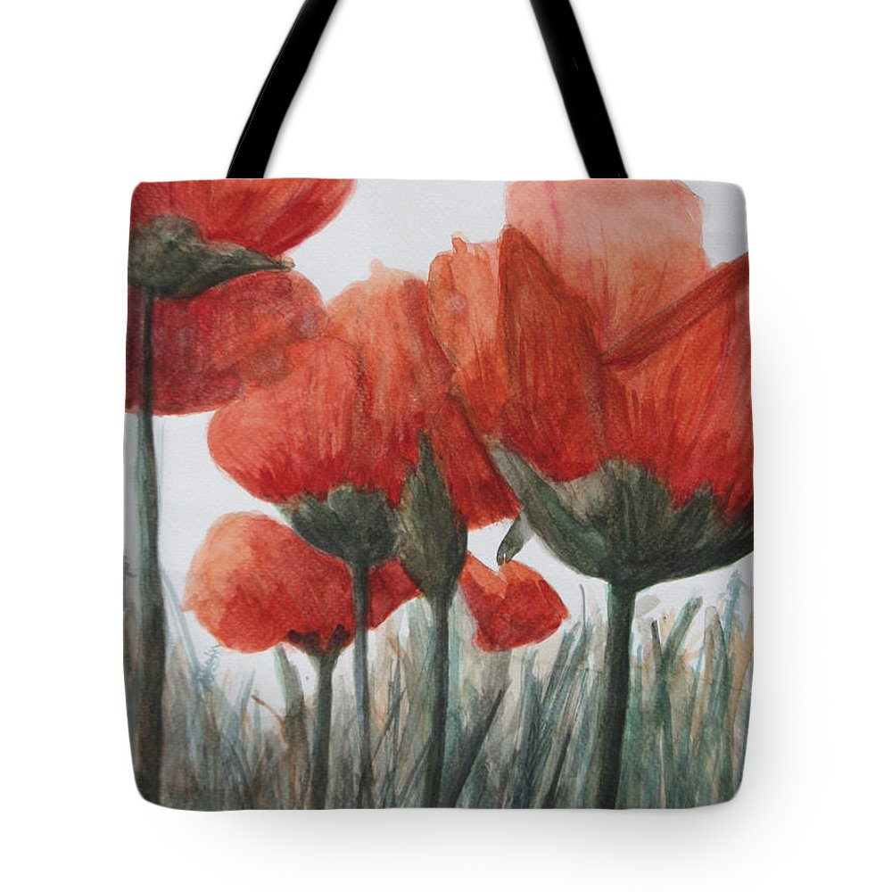 Poppies Tote Bag featuring the painting Poppies by Betty-Anne McDonald