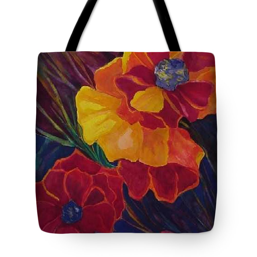 Flowers Tote Bag featuring the painting Poppies by Carolyn LeGrand