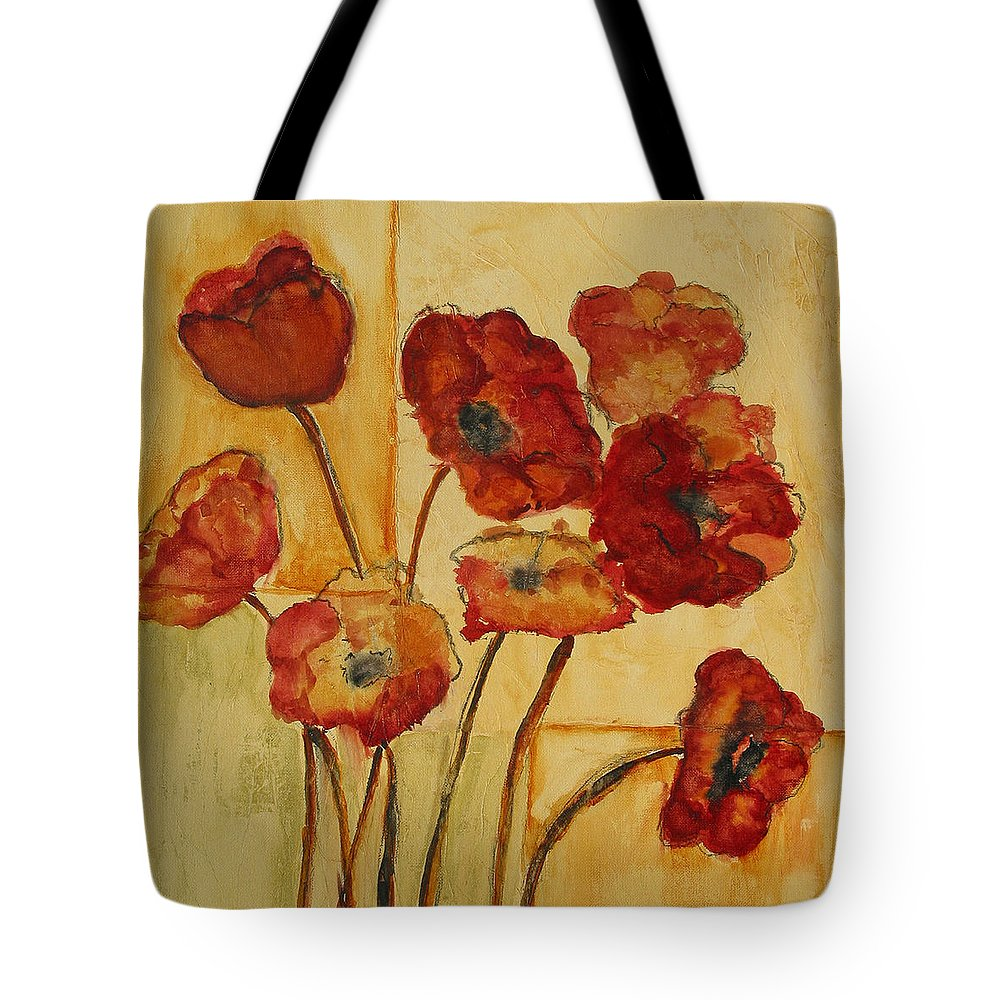 Poppies Tote Bag featuring the painting Poppies by Diane Dean