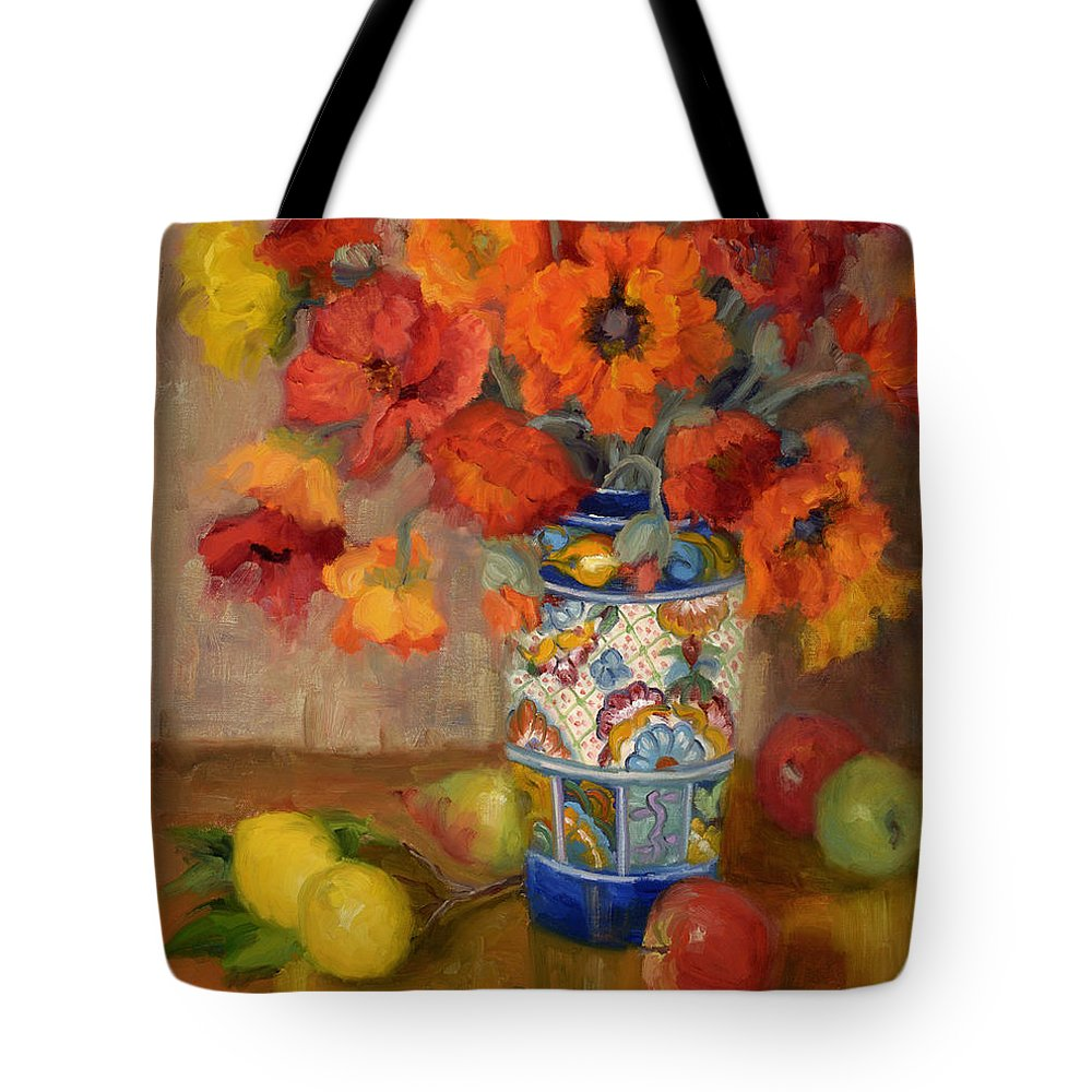 Poppies Tote Bag featuring the painting Poppies Galore by Bunny Oliver
