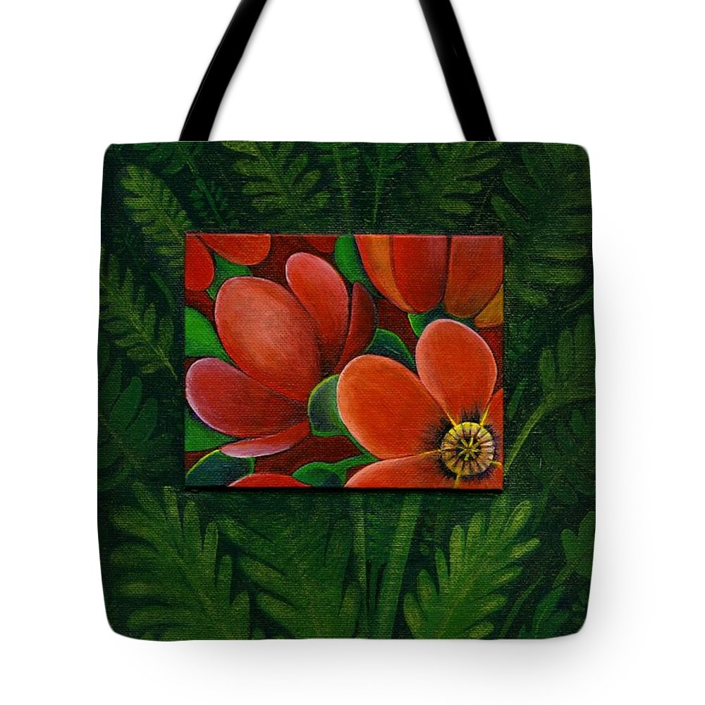 Poppy Tote Bag featuring the painting Poppies by Helena Tiainen