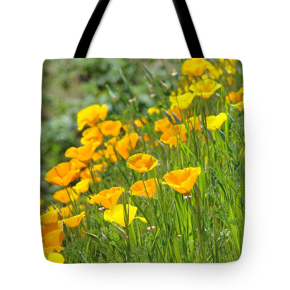 �poppies Artwork� Tote Bag featuring the photograph Poppies Hillside Meadow Landscape 19 Poppy Flowers Art Prints Baslee Troutman by Baslee Troutman