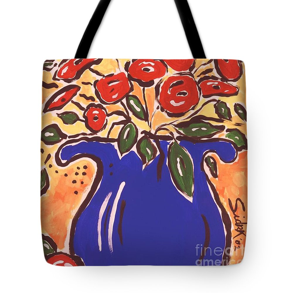Floral Tote Bag featuring the painting Poppies In Blue Vase 2001 by Sidra Myers