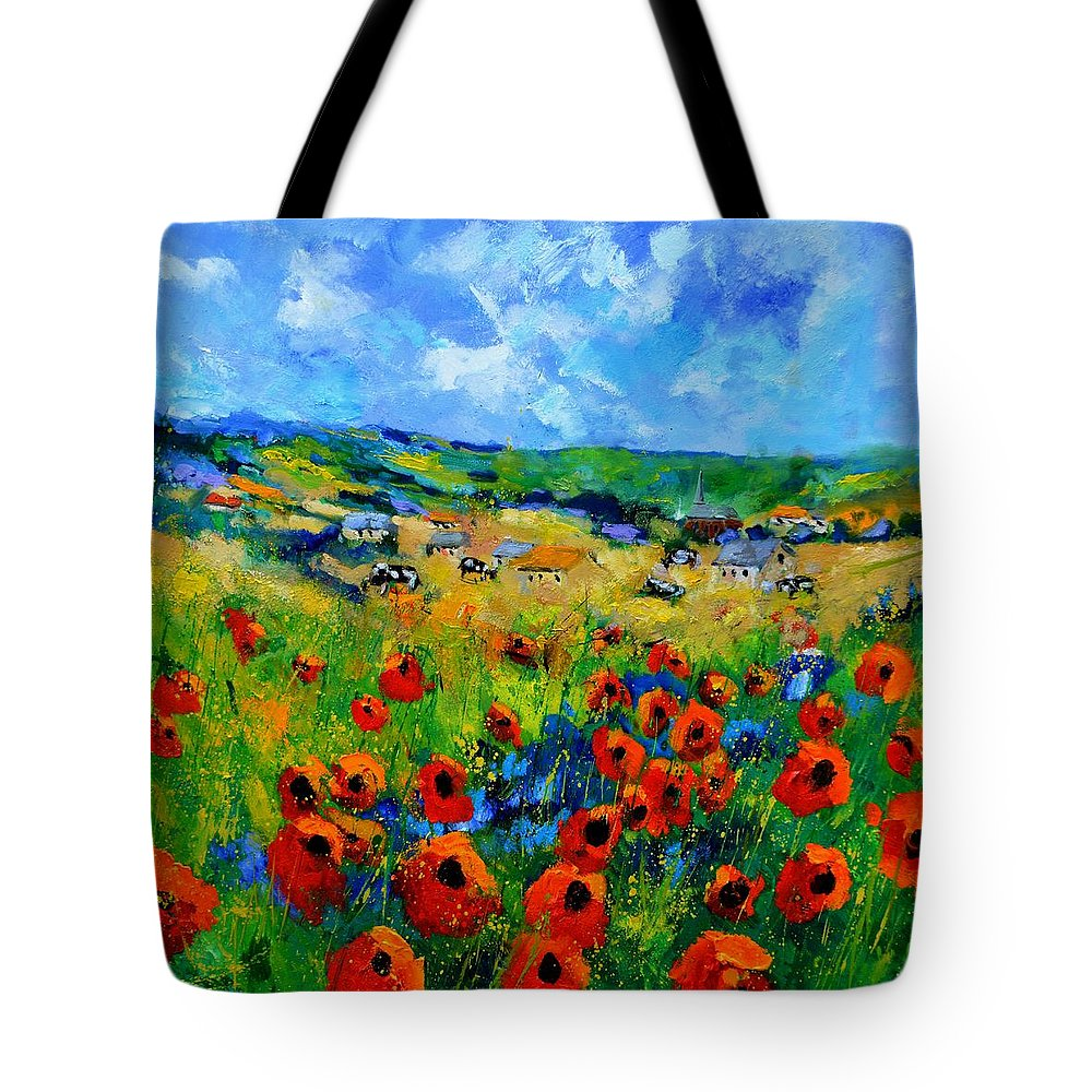 Landscape Tote Bag featuring the painting Poppies in Ieper by Pol Ledent