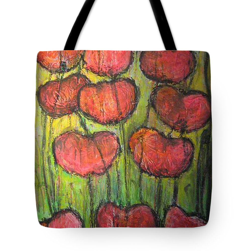 Poppies Tote Bag featuring the painting Poppies In Oil by Laurie Maves ART