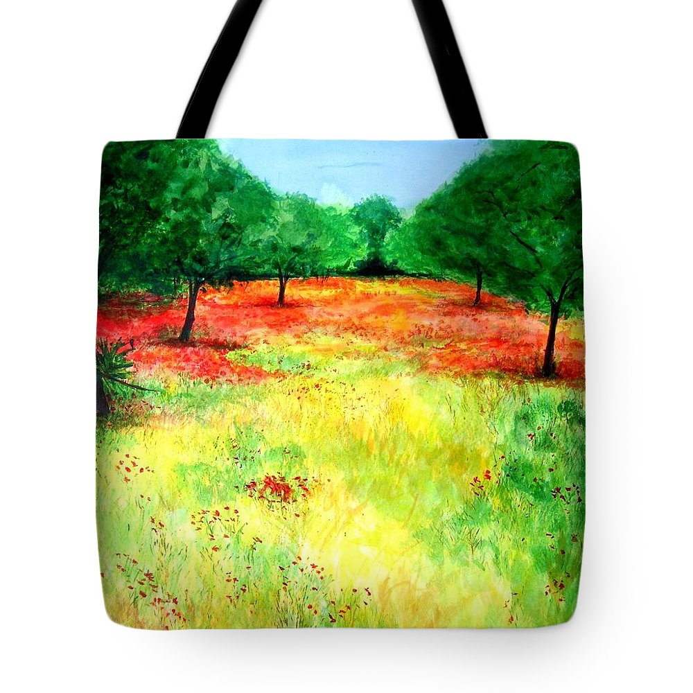 Landscape Tote Bag featuring the painting Poppies In The Almond Grove by Lizzy Forrester