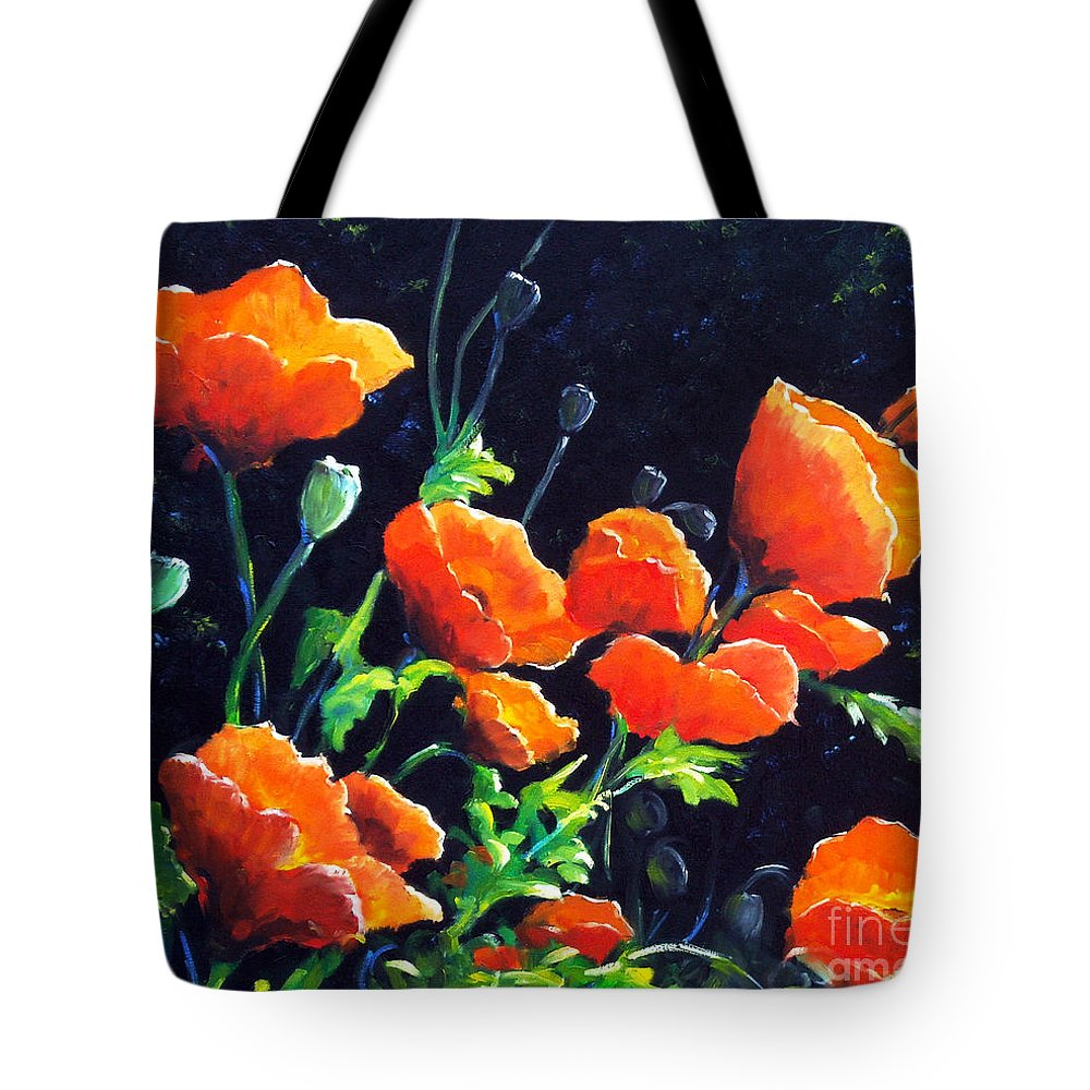 Pavot Tote Bag featuring the painting Poppies In The Light by Richard T Pranke