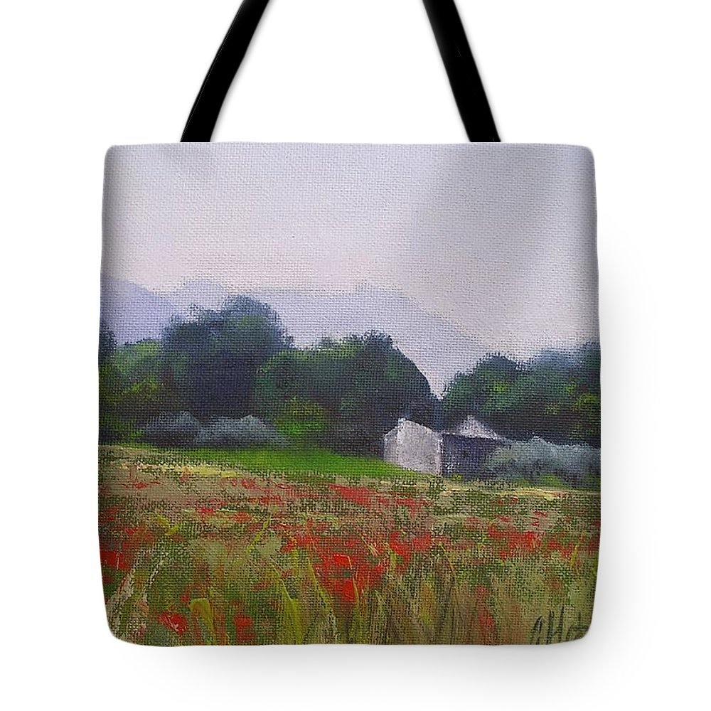 Tuscan Farm Painting Tote Bag featuring the painting Poppies In Tuscany by Chris Hobel