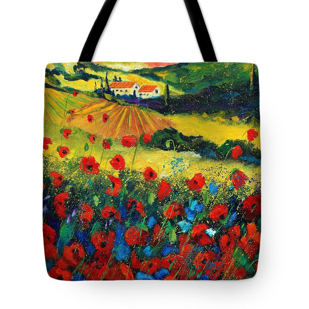 Flowers Tote Bag featuring the painting Poppies In Tuscany by Pol Ledent