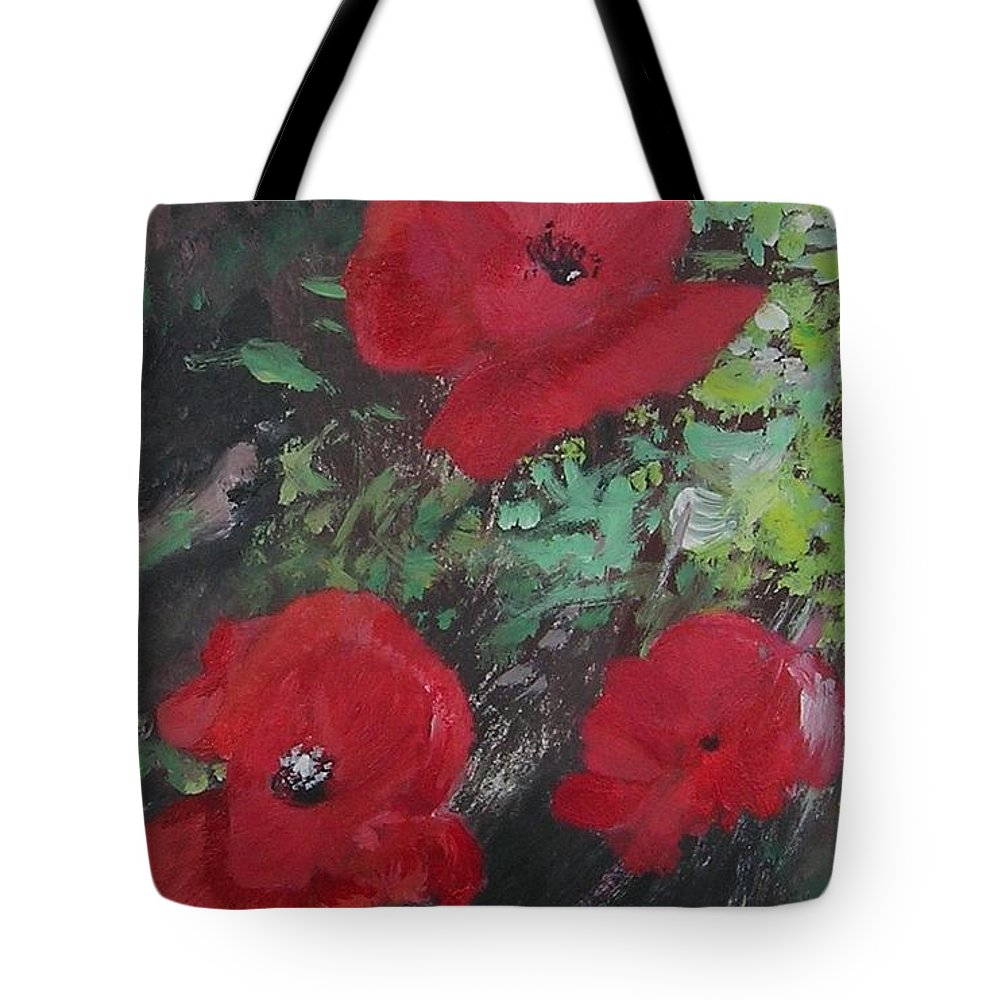 Red Tote Bag featuring the painting Poppies by Lizzy Forrester