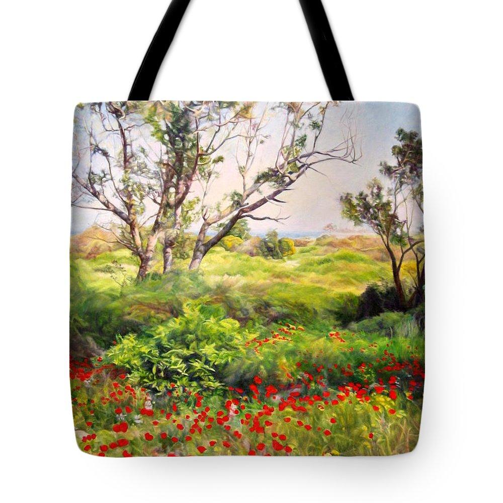 Artist Maya Bukhin Tote Bag featuring the painting Poppies by Maya Bukhina