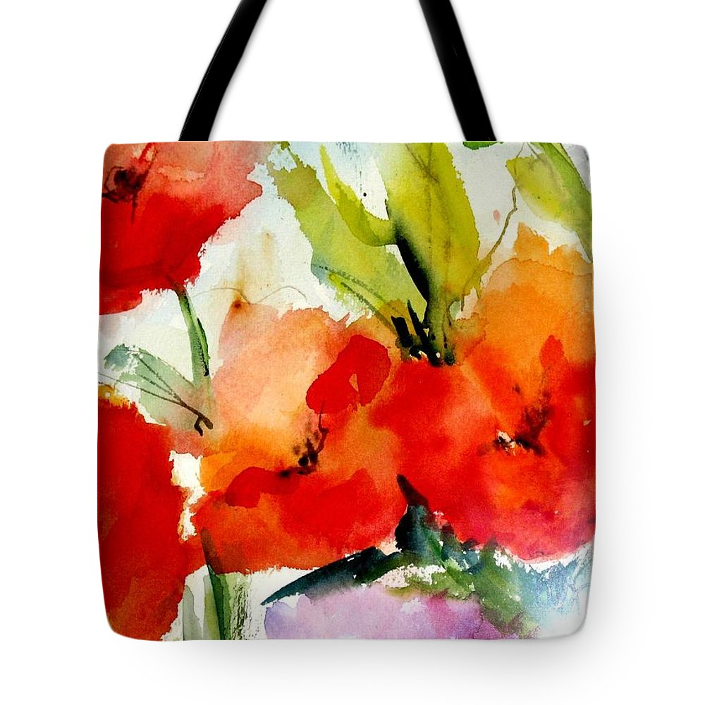 Floral Tote Bag featuring the painting Poppies by Vesna Grundler