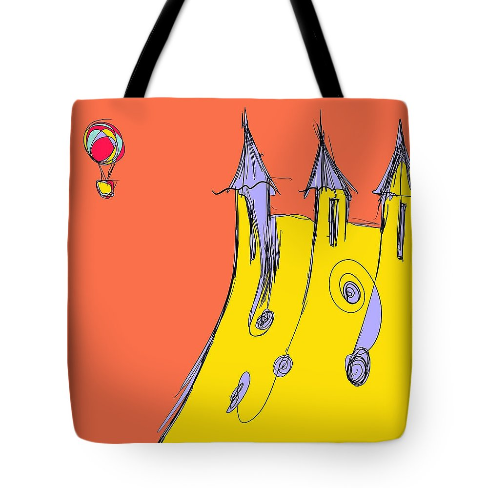 Balloon Tote Bag featuring the drawing Popping In For A Visit by Jason Nicholas