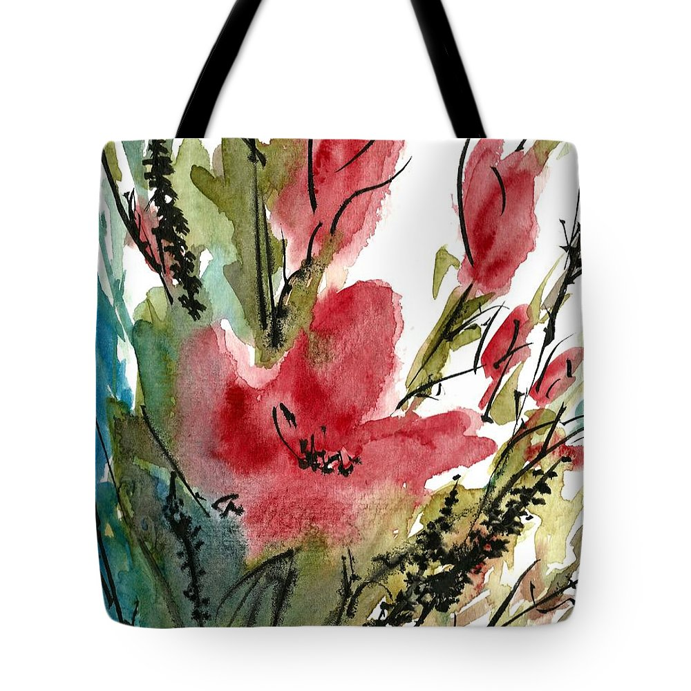 Poppy Tote Bag featuring the painting Poppy Blush by Garima Srivastava