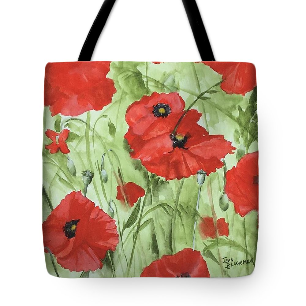 Red Tote Bag featuring the painting Poppy Field 1 by Jean Blackmer