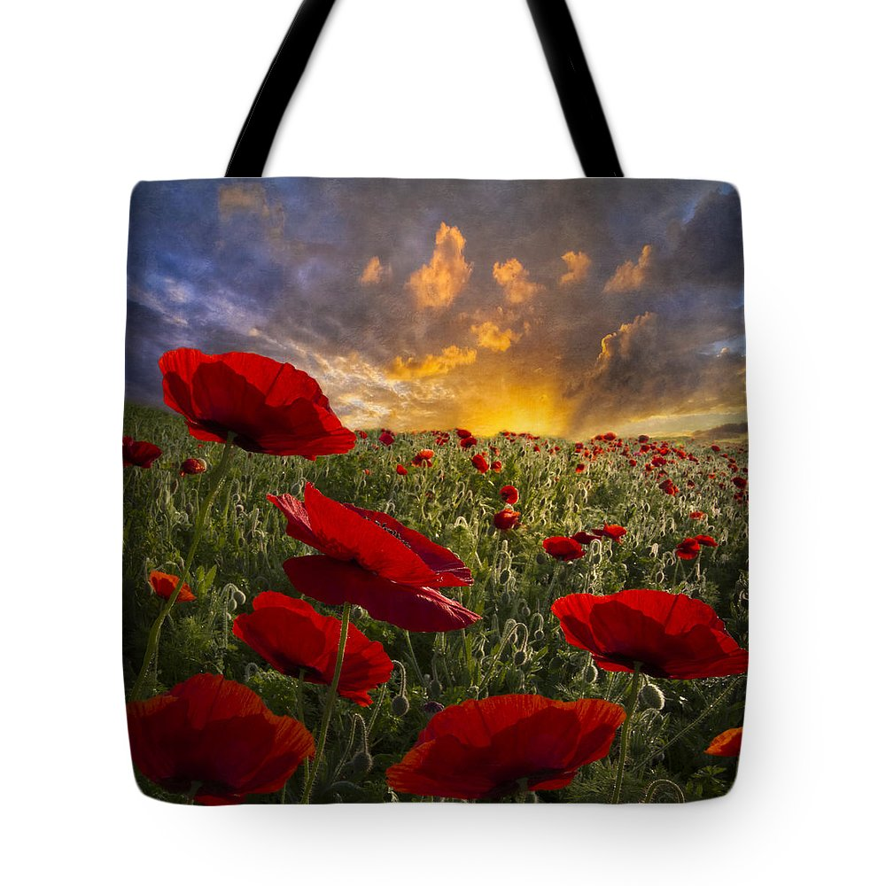 Appalachia Tote Bag featuring the photograph Poppy Field by Debra and Dave Vanderlaan
