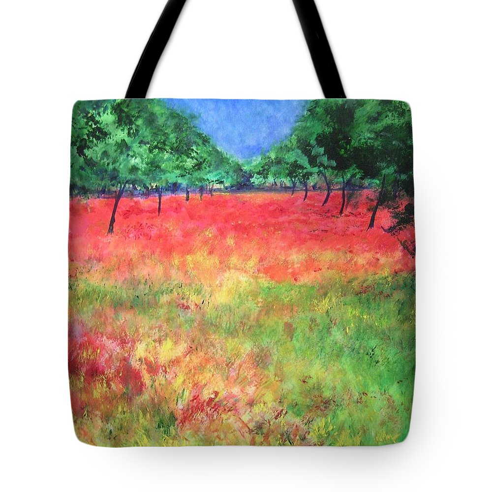 Original Landscape Painting. Poppy Field Tote Bag featuring the painting Poppy Field II by Lizzy Forrester