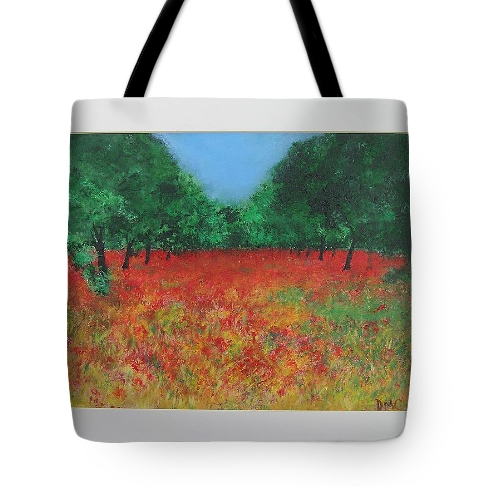 Poppy Tote Bag featuring the painting Poppy Field In Ibiza by Lizzy Forrester