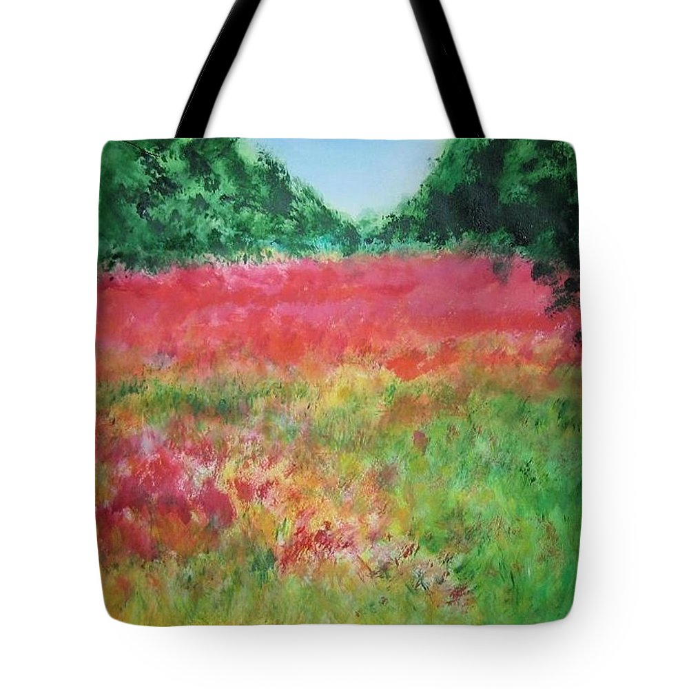 Lanscape Tote Bag featuring the painting Poppy Field by Lizzy Forrester