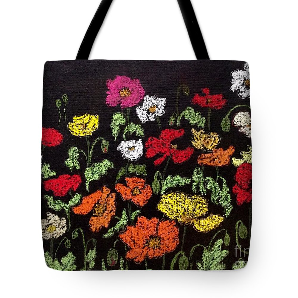 Poppy Tote Bag featuring the pastel Poppy Field by Natalia Wallwork