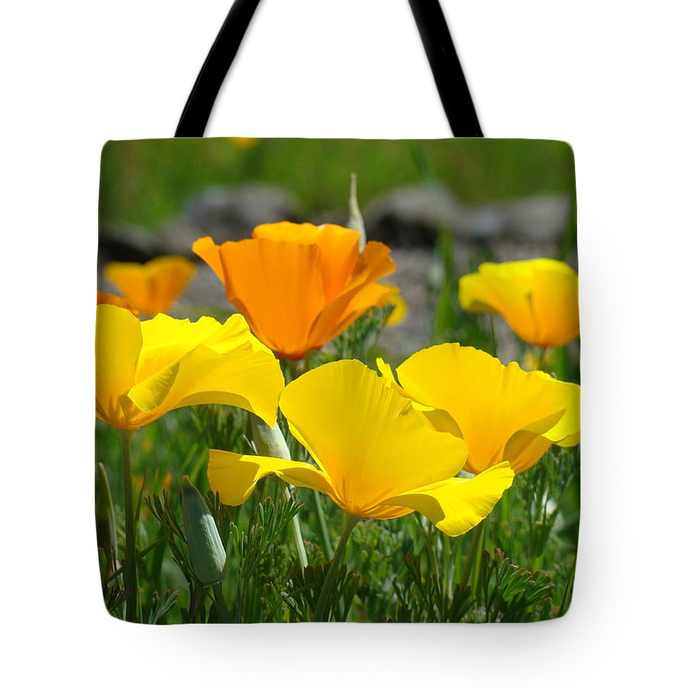 �poppies Artwork� Tote Bag featuring the photograph Poppy Flower Meadow 14 Poppies Orange Flowers Giclee Art Prints Baslee Troutman by Baslee Troutman