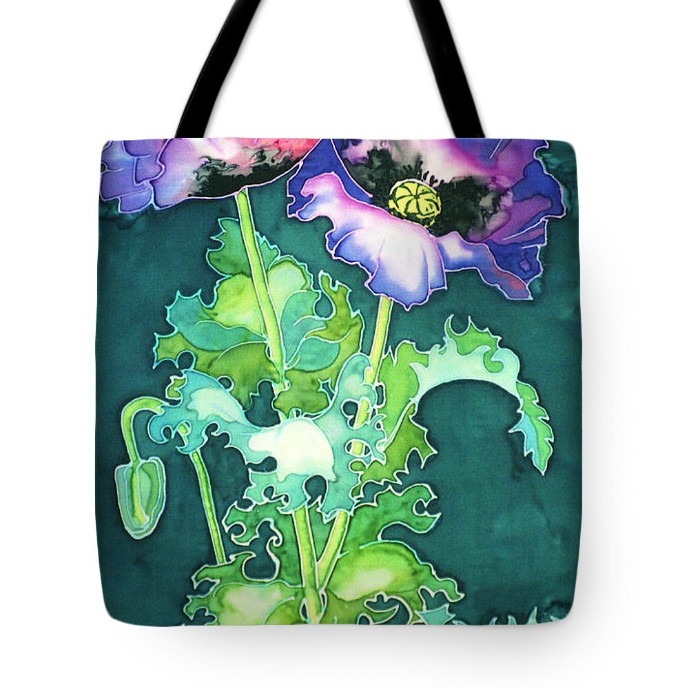 Papaver Somniferum Tote Bag featuring the painting Poppy Flowers by Paula Chapman