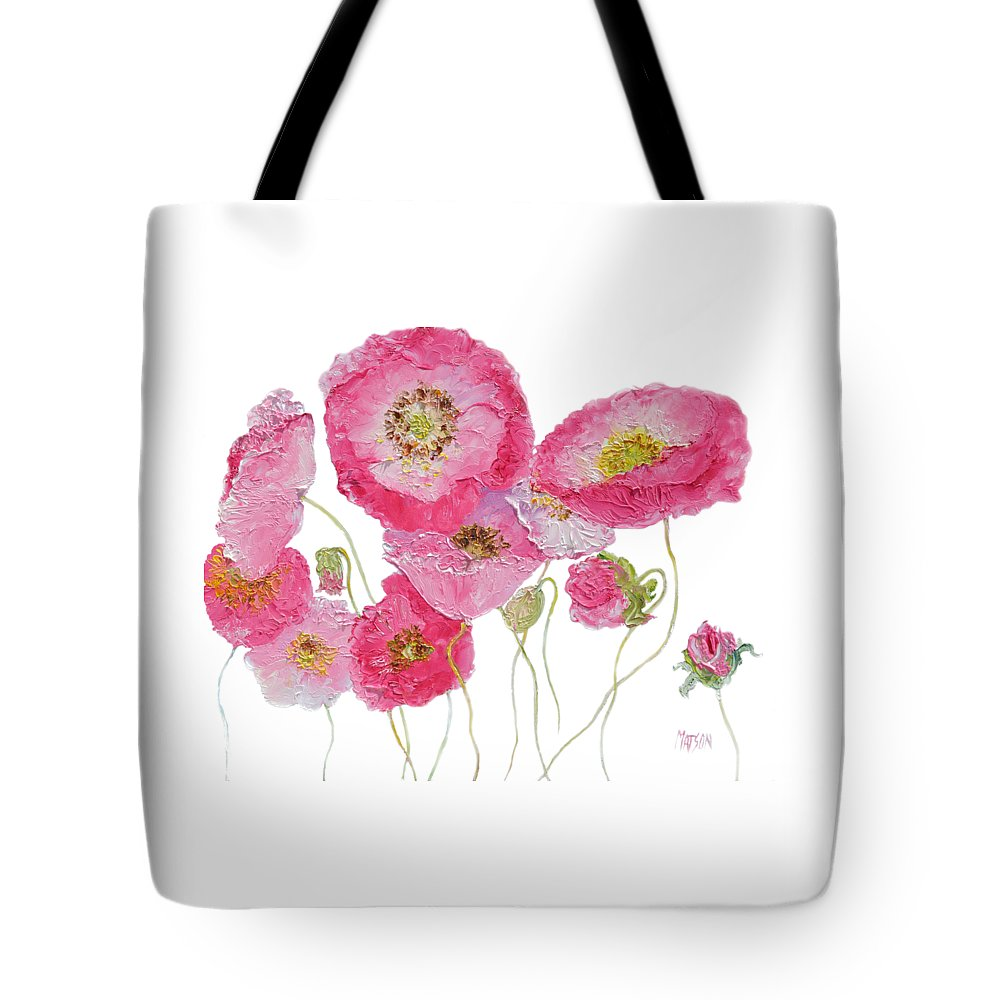 Poppies Tote Bag featuring the painting Poppy Painting On White Background by Jan Matson