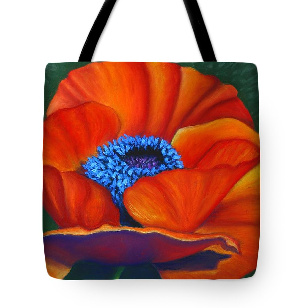 Red Flower Tote Bag featuring the painting Poppy Pleasure by Minaz Jantz