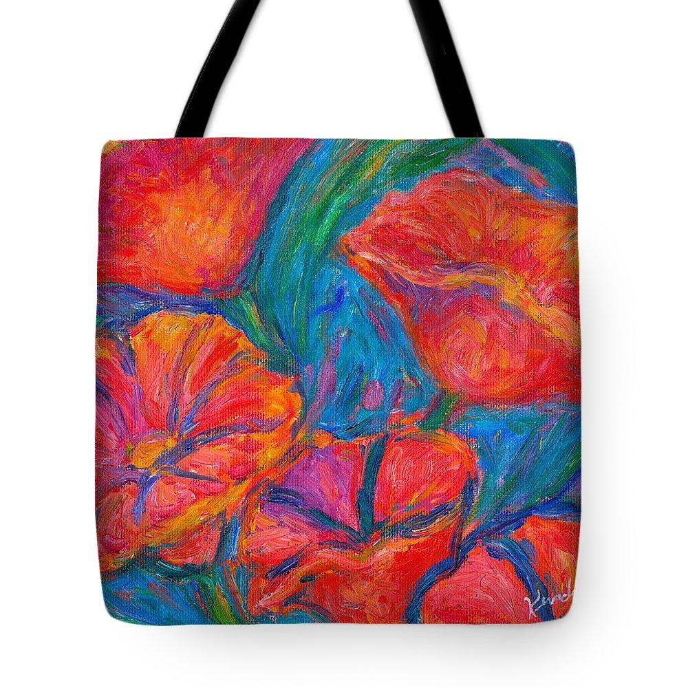 Flower Tote Bag featuring the painting Poppy Twirl by Kendall Kessler