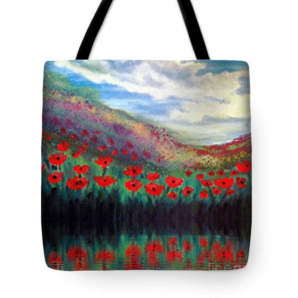 Landscape Tote Bag featuring the painting Poppy Wonderland by Holly Martinson