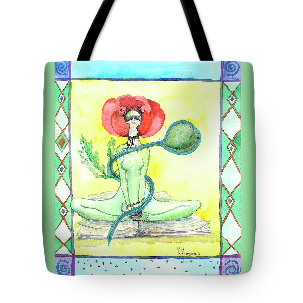 Art Tote Bag featuring the painting Poppy by Yana Sadykova