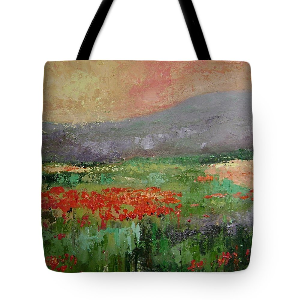 Poppies Tote Bag featuring the painting Poppyfield by Ginger Concepcion