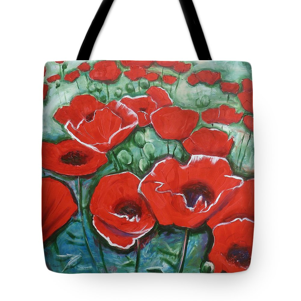 Poppy Tote Bag featuring the painting Poppylarity Contest II by Sheila Diemert