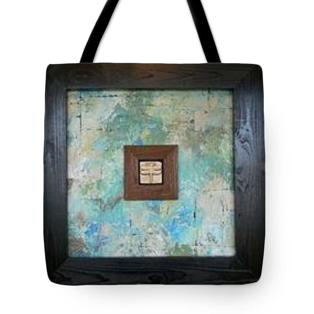 Dragonfly Tote Bag featuring the mixed media Porcelain Dragonfly by Serina Wells