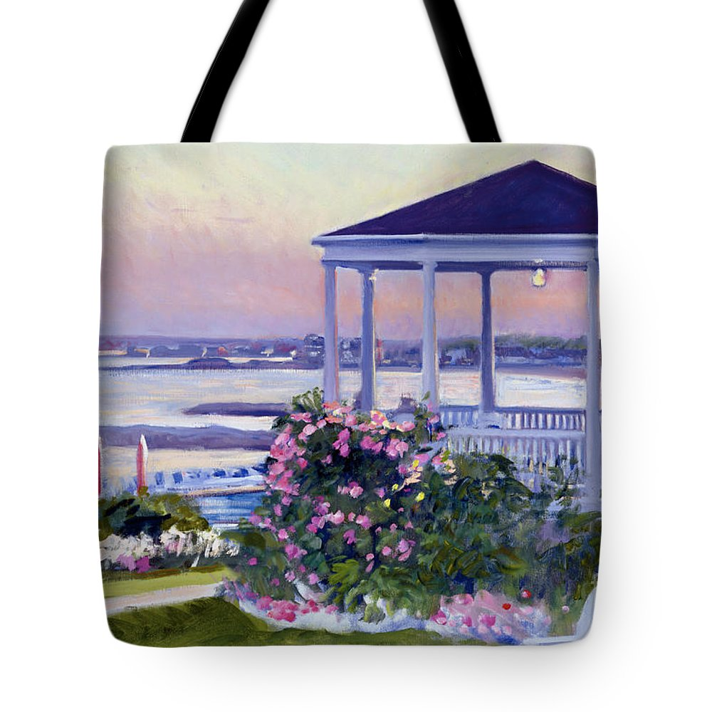 Colony Hotel Tote Bag featuring the painting Porch At Sunet by Candace Lovely