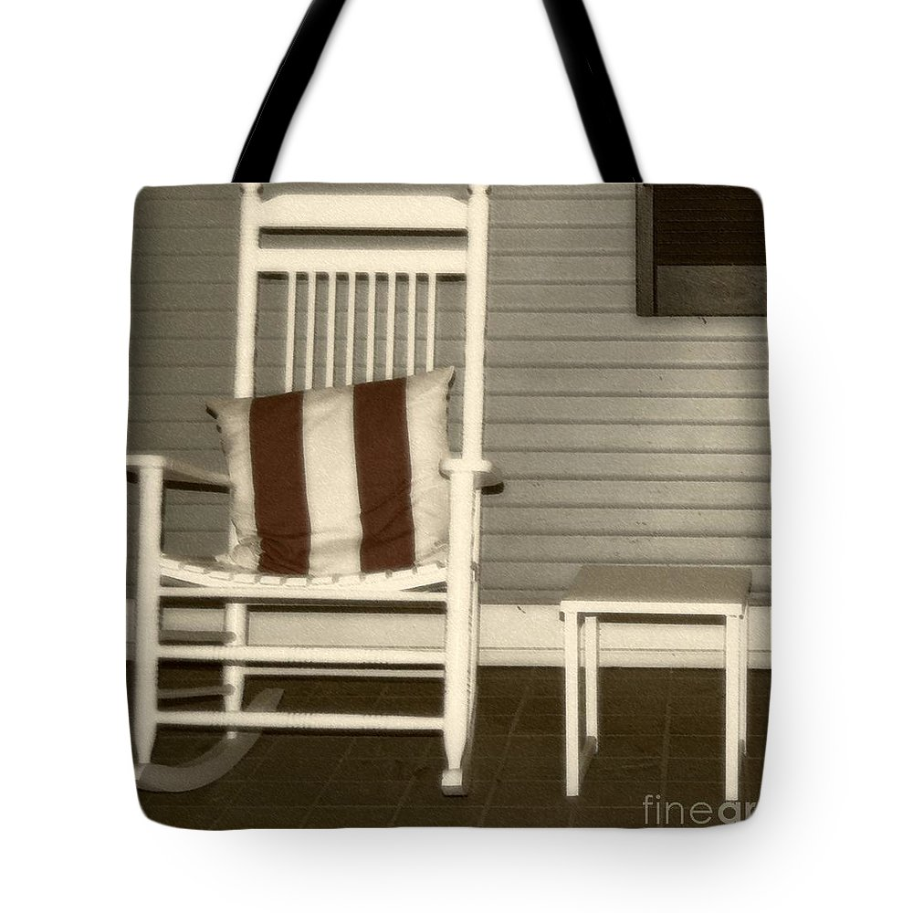 Rocking Chair Tote Bag featuring the photograph Porch Rocker by Debbi Granruth