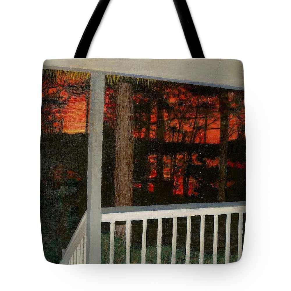 Porch Tote Bag featuring the painting Porchlight by Sherryl Lapping